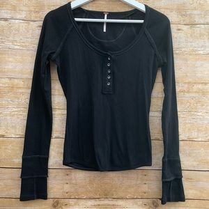 Free people ribbed long sleeve top S Henley button